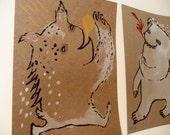 Waving and Bear Monster on Kraft Set / Hand Painted Limited Edition Gocco Print