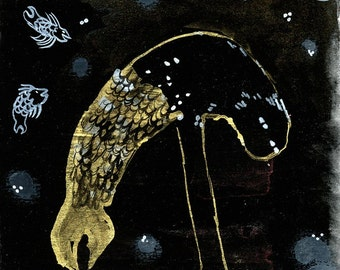 Reaching Down Monster Fish Original Illustration in gouache