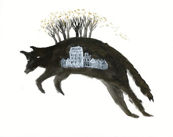 Leaping Wolf with Houses Archival Art Print