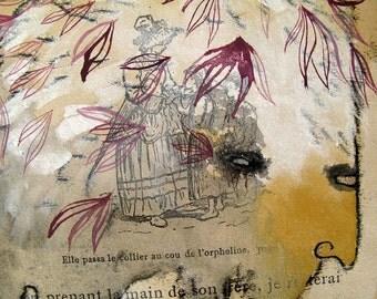 Magenta Leaves Original Forest Beast Monster Monoprint
