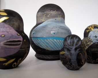 SALE Seascapes and Fish Five Piece Small Nesting Doll Set / Original Artwork / No postage