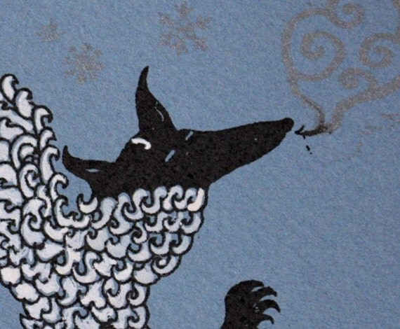 SALE Polar Wolf Hand Painted Greeting Card / Gocco Printed / gouache detail