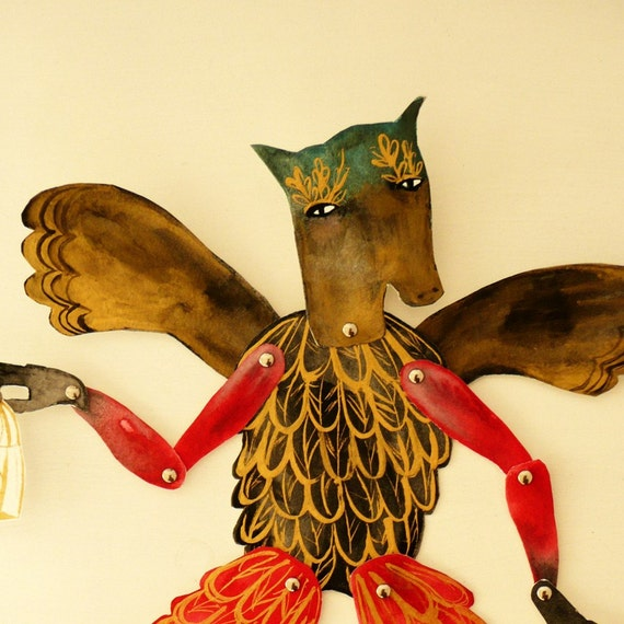LAST ONE Horse Headed Papageno DIY Articulated Paper Doll with brads / Hinged Beasts Series