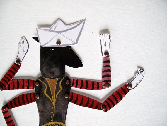 Four Armed Kanga Man / Constructed Articulated Paper Doll / Hinged Beasts Series