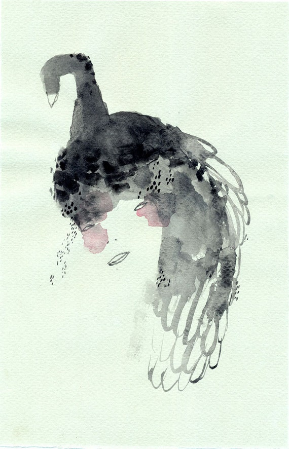 Swan Headed / original gouache illustration by Emma Kidd