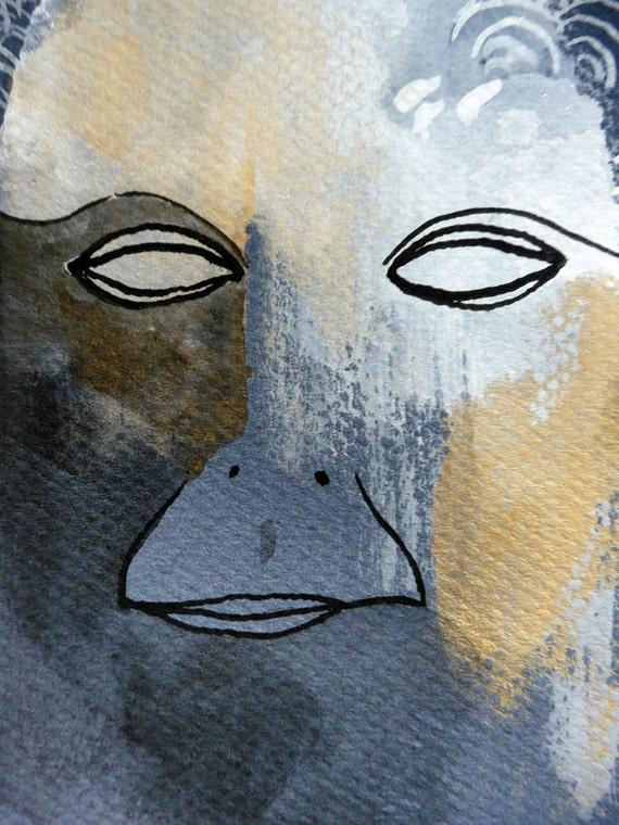 Portrait of Unknown / original gouache illustration
