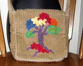 Tan Corduroy Diverstree Tree of Life Purse