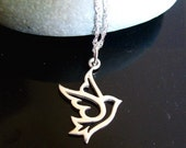 SALE - Pretty Tiny PEACE DOVE Necklace in Sterling Silver (with your choice of an added Purple Bead/Gemstone)