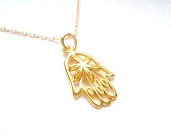 On SALE - Pretty 24kt Gold Vermeil HAMSA Necklace