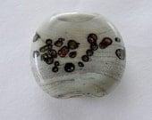 White Adventurine-Lampwork Glass Focal Bead
