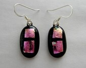Dichroic Glass and Silver Earrings-Copper