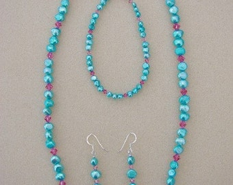 Aqua Blue (Dyed)  Natural Freshwater Pearls