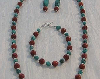 Coral, Turquoise Necklace, Bracelet, Earrings
