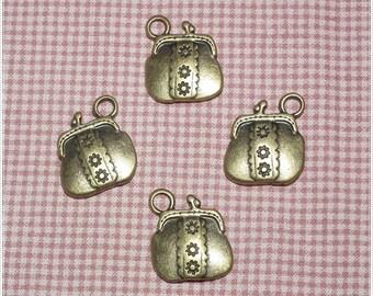 10 pcs Antique Bronze Clutch Metal Charm Pendant - 2 sides -