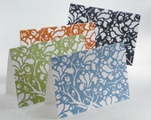 magnolia blockprint - set of four notecards