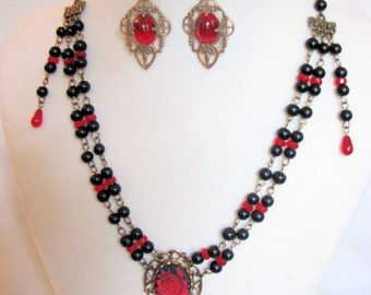 Red Rose on Black Stone Necklace set