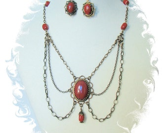 Red Jasper Cabochon Necklace with Earrings