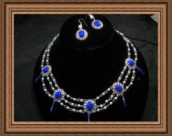 Blue and Silver Renaissance Styled Necklace Set