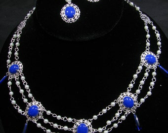 Blue and Silver Delicately Styled Renaissance Necklace Set