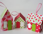 Paper House Ornament Template - Rose Cottages