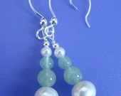Custom Order for MAY BRIDE - Spring Pearls Earrings - White Freshwater Pearls, Green Aventurine, and Sterling Silver Earrings