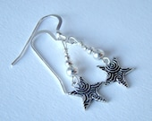 Sterling Silver Star Earrings, Etched Sterling Silver Earrings, Star Earrings