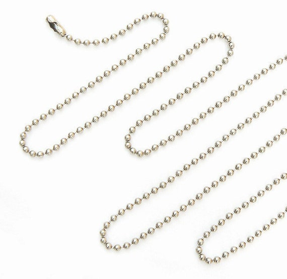 Silver Plated Ball Chain Necklace - 24 INCH