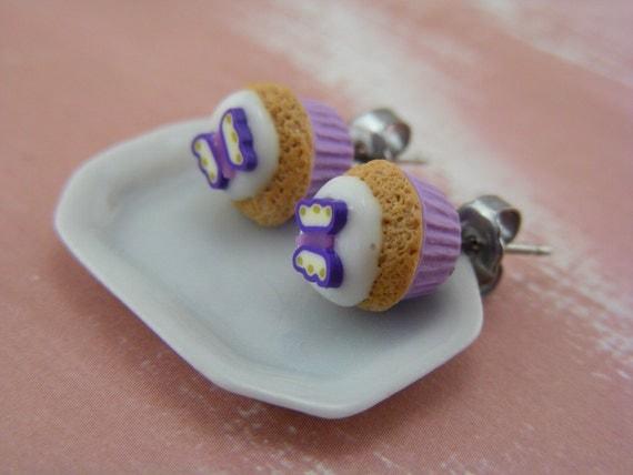 Violet Butterfly Cupcake - Studs / Post Earrings - ON SALE