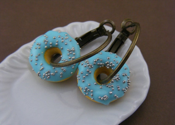 Happy Teal Donut Earrings