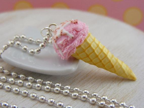 Creamy Strawberry Ice Cream Necklace