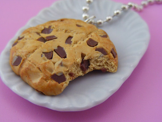 Half Eaten Chocolate Chips Cookie Necklace