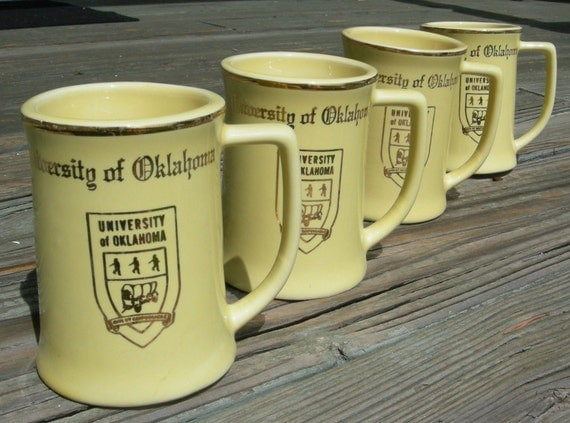 University of Oklahoma Set of Four Vintage Yellow Coffee Mugs-Make Me An Offer