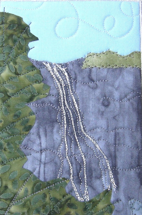 Falling Water Landscape Quilted Fabric Postcard Art Quilt