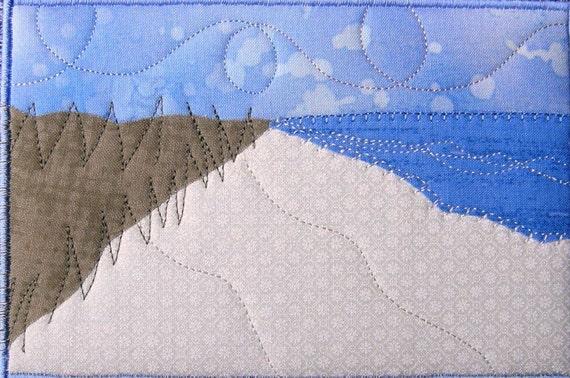 Fabric Postcard - Beach Landscape Mini Art Quilt - Quilted Fabric Postcard