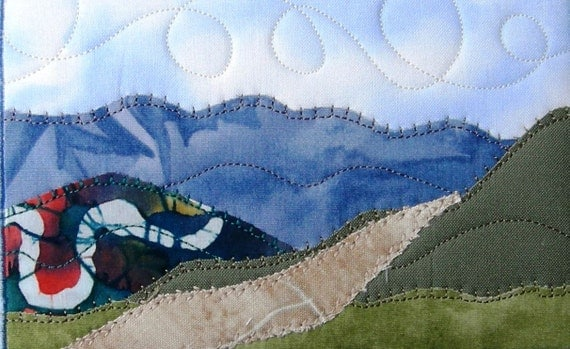 Fabric Postcard, Hiking in the Blue Ridge Mountains Landscape Art Quilt