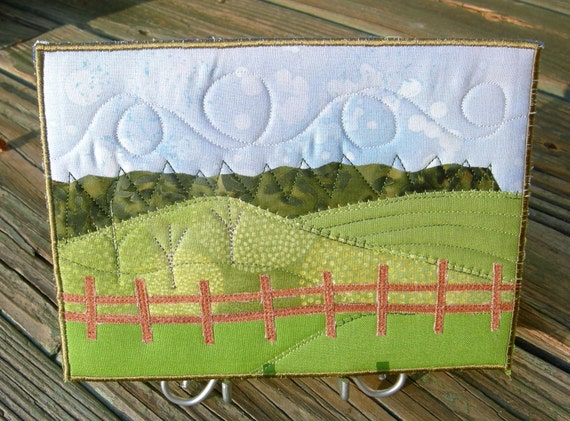 Landscape Quilted Fabric Postcard Art Quilt-Mini Quilt Hilly Country Farmland