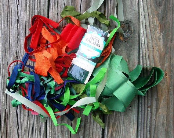 Sewing supplies-Seam binding, hem Tape, Green, Orange Navy Blue