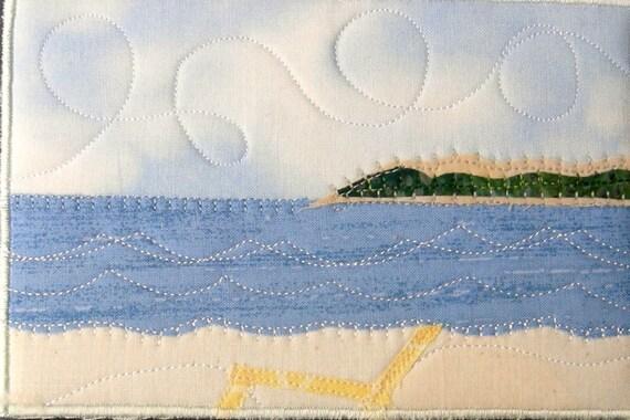 Fabric Postcard Art Quilt-Beach Landscape Mini Applique Art Quilt