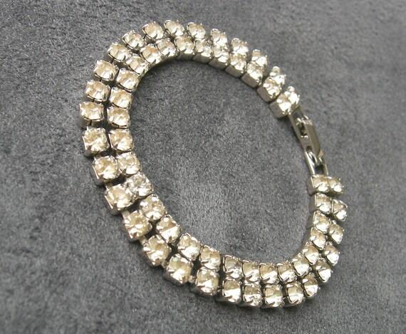 Weiss Rhinestone Bracelet - Vintage Jewelry - Silver Tone