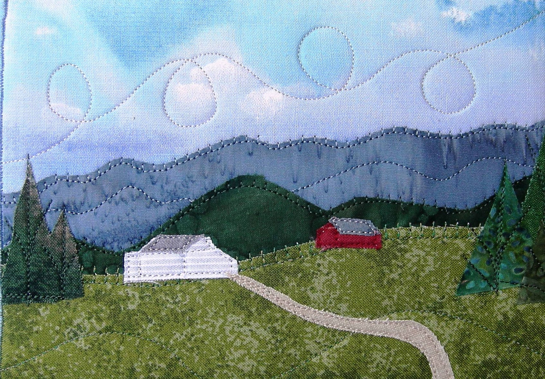 Fabric Postcard Art Quilt Mountain Landscape Mini Quilt