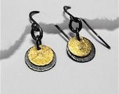 Mix metal gong earrings