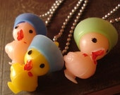 x3 Necklaces...Kitschy Vintage Sailor Chick Charms on Ball Chain Necklaces