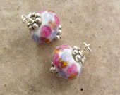 Handmade Earring Dangle, Pink and Purple Glass Drop, Interchangeables