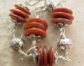 Handmade Bracelet, Caramel Dream, Glass and Bali Silver