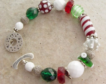 Handmade Bracelet, Christmas Whimsey, Glass and Silver
