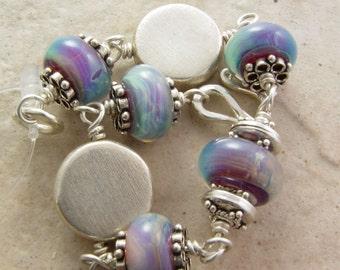 Handmade Bracelet, Stormy Skies, Beautiful Boro Glass and Hill Tribe Silver
