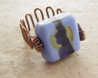 Copper Wire and Blue Tile Ring, size 7.5