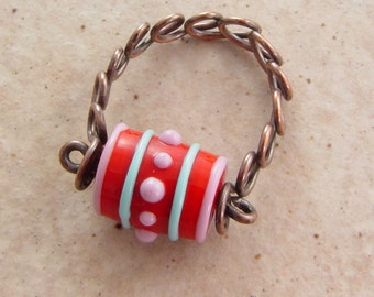 Handwired Copper Ribbon Ring with Red Glass Barrel, Size 8.25