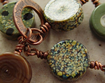 Mossy Green Copper Wire and Lampwork Bead Bracelet