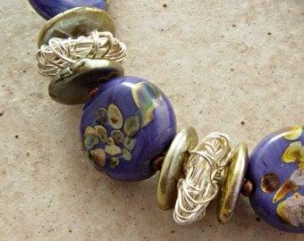 Purple Lampwork, Fine Silver, and Freshwater Pearl Bracelet